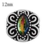 Astilla de diseño 12MM plateada con coloridos diamantes de imitación y esmalte KS6252-S joyería de broches intercambiables