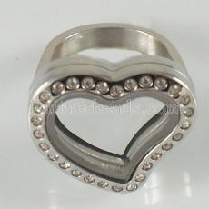 ANILLO de acero inoxidable Mix6-10 # tamaño con medallón de corazón flotante Dia 20mm color plateado