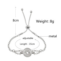 1 buttons snap sliver adjustable bracelet fit 12MM snaps jewelry KS1220-S