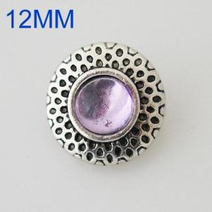 Круглые защелки 12mm с античным серебром, покрытые фиолетовым стразами KB6603-S