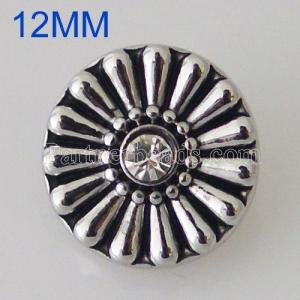 12MM Roud snap Antique Silver Plated with rhinestone KB5512-S snaps jewelry