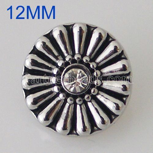 12MM Roud snap Plateado de plata antiguo con diamantes de imitación KB5512-S broches de joyería