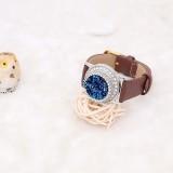 Cristal artificiel 25MM bouton-pression bleu opale plaqué argent avec strass KC7983