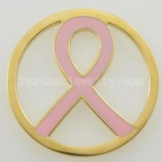 33MM stainless steel coin charms fit  jewelry size pink ribbon