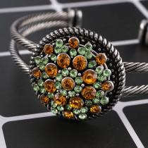 Bouton design 20MM argenté avec des strass orange KC8953 s'encliquette des bijoux