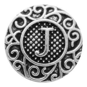 C20MM Englisch Alphabet-J Snap Antik Silber KC6754 Snaps Schmuck
