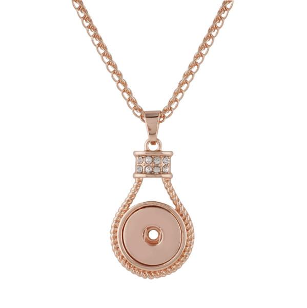 Colgante de diamantes de imitación Collar de oro rosa con cadena 50CM KC1036 broches de joyería