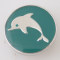 20MM Dolphin snap Silver Plated with Enamel KB6241 cyan green