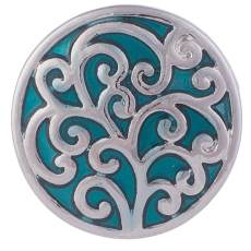 20MM Pattern snap Silver Plated with Cyan Enamel KB6017 snaps jewelry