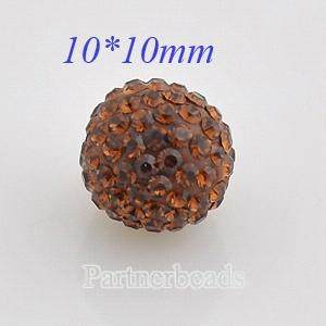 10mm Brown STELLUX Austrian crystal ball beads