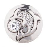 20MM bouton pression Dauphin plaqué argent avec strass blanc KC5484 bouton pression