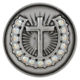 20MM cross snap button Silver Plated with colorful rhinestone KC5711 white