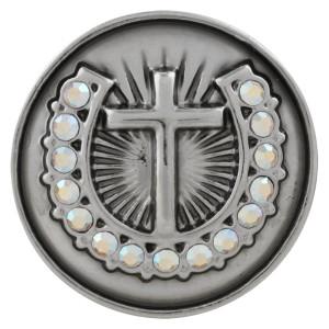 Кнопка с крестообразной кнопкой 20MM Посеребренная со стразами KC5711, цвет белый