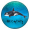 20MM shark Painted enamel metal C5531 print  blue