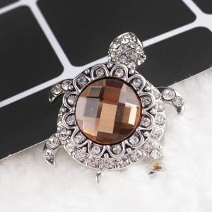 20MM Round snap Versilbert mit braunem und klarem Strass KB8648 snaps jewelry