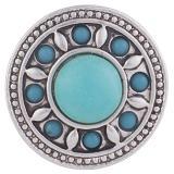 20MM Круглая защелка Античное серебро с голубым бирюзовым камнем KB5221