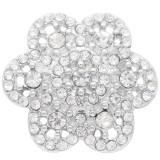 Broche de flores 20MM plateado con diamantes de imitación blancos KC7903 broches de joyería