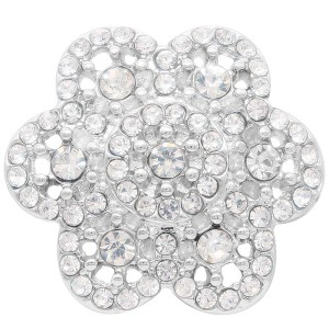 20MM flower snap Silver Plated with white rhinestone KC7903 snaps jewelry