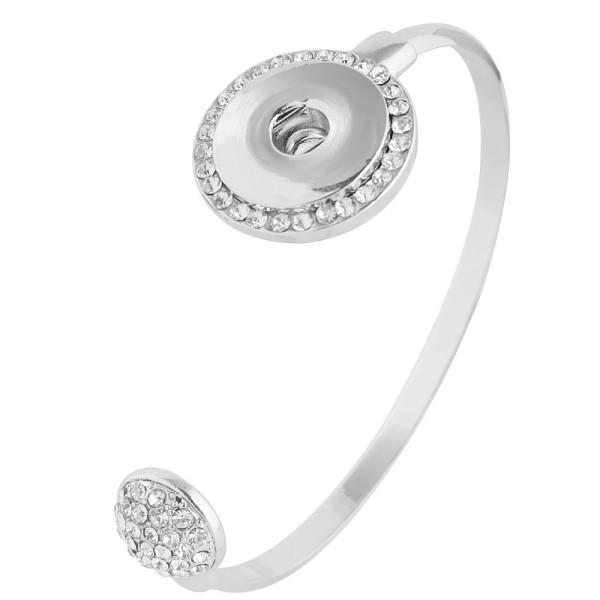 Pulsera de metal 6 * 5CM con ajuste de diamantes de imitación 18 y 20MM broches de presión 1 botones broches de joyería