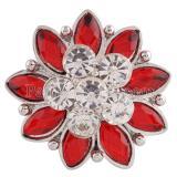 20MM Flower snap Versilbert mit roten und klaren Strasssteinen KC7196 schnappt Schmuck