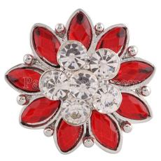20MM Flower snap Silver Plated with Red and clear rhinestones KC7196 snaps jewelry