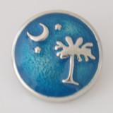 20MM broche de luna y árbol Plateado con azul Esmalte KB6128 azul