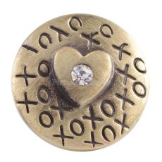 20MM Loveheart round snap Antique Gold Plated with  rhinestones KC8526 snaps jewelry