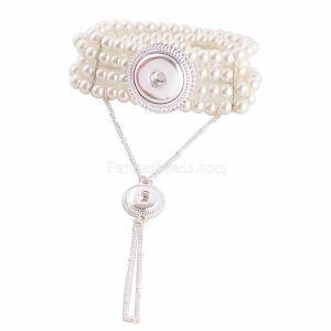 Los botones 2 se ajustan con baño de plata con brazalete de perlas KC0606 se ajustan a los pedazos 20MM y 12MM