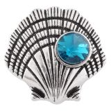 Гребешок 20MM в раковине, защелкивающееся античное серебро с голубым горным хрусталем KC6436 защелкивается ювелирные изделия
