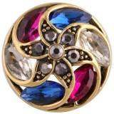 Diseño 20MM complemento Chapado en oro antiguo con diamantes de imitación de colores KC8717 Multicolor