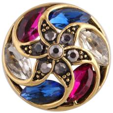 20MM design snap Antique Gold Plated with colorful Rhinestone KC8717 Multicolor