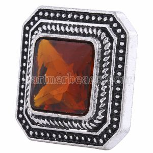 20MM Square snap Silver Plated with brown rhinestone KC6121 snaps jewelry
