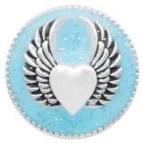 20MM Wing snap argenté avec émail bleu clair KC6949 snaps bijoux