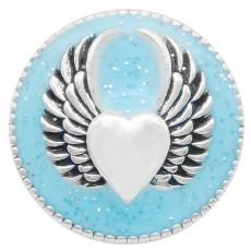 20MM Wing snap silver Plateado con esmalte azul claro KC6949 broches de joyería
