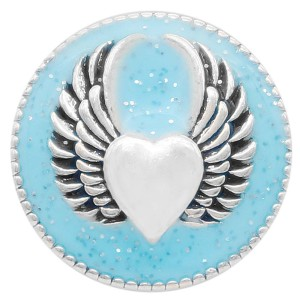 20MM Wing snap silver Plated with light blue enamel KC6949 snaps jewelry