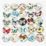 Trozos de broches de vidrio impresos 10pcs - Patrón de diseño de artes tipo Butterfly MIX 25