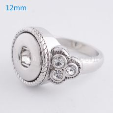 8# snaps metal Ring with Rhinestones fit mini 12mm snap chunks
