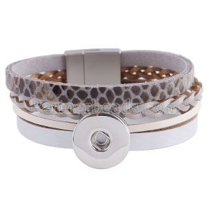 Partnerbeads 7.8inch gray real leather bracelets fit 18/20MM snaps chunks KC0026 snaps jewelry