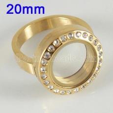 ANILLO de acero inoxidable Mezcle el tamaño 6-10 con el medallón de encanto flotante Dia 20mm color dorado