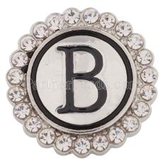 20MM English alphabet-B snap Antique silver  plated with  Rhinestones KC8531 snaps jewelry