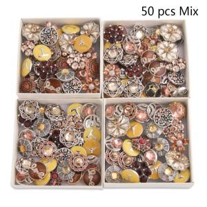 50pcs / lot Botones a presión 20mm Mix Yellow, brown, champagne mixmix colors