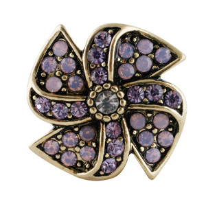 20MM design snap gold Plated with purple Rhinestones  KC7670 snaps jewelry