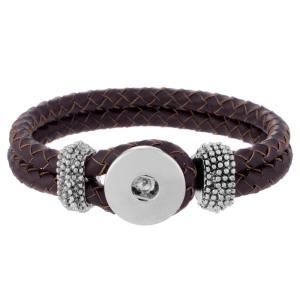 23CM Brown real leather bracelets fit snaps chunks