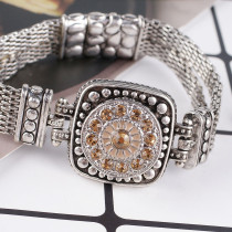 20MM Round snap Antique Silver Plated with yellow  rhinestone KB8177 snaps jewelry