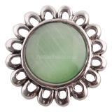 Broche de flores 20MM Plateado plata antigua con joyería de broches KC7120 de ópalo verde