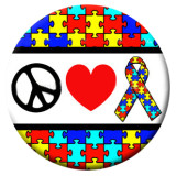 20MM peace Autism Painted enamel metal snaps C5073 print snaps jewelry