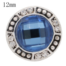 12MM design snap antique sliver Plated with blue Rhinestone KS6361-S snap jewelry