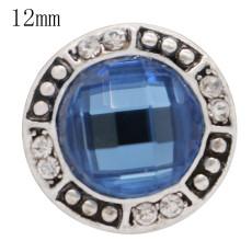 Diseño antiguo de 12MM plateado antiguo plateado con diamantes de imitación azules KS6361-S joyería rápida