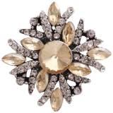 20MM snap plateado con diamantes de imitación amarillos KC8989 broches de joyería