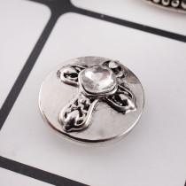 20MM Kreuz Druckknopf Antik Silber Überzogen mit weißem Strass KC9703 Druckknopf